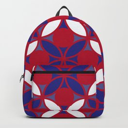 Geometric Floral Circles In Bold Red White & Blue Backpack