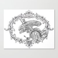 xenomorph Canvas Prints featuring Fancy Xenomorph by Adam Tupper