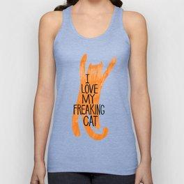 I love my freaking cat - orange Unisex Tank Top