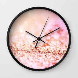 Pink shiny glitter - Sparkle Girly Valentine Backdrop Wall Clock