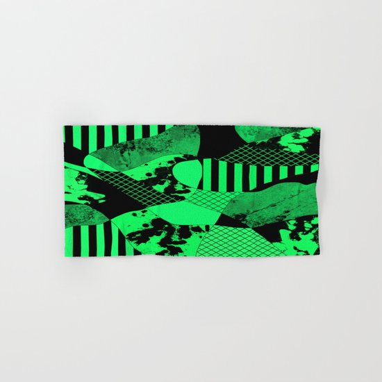 Black And Teal - Abstract, geometric, multi patterned artwork Hand & Bath Towel