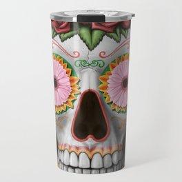 Flora - Sugar Skull with Cactus, Red Roses, Avocado and Papaya Travel Mug