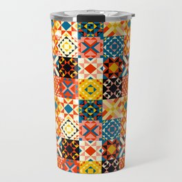 Maroccan tiles pattern with red an blue no2 Travel Mug