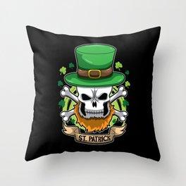 St. Patrick - Irish Skull - St. Patrick's Day Throw Pillow
