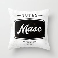 totes Throw Pillows featuring Totes Masc - Vintage by lessdanthree
