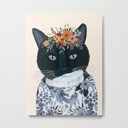 Black and White cat with flower crown Metal Print