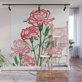 pink and red carnation watercolor painting Wall Mural