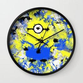 Splatter Painted Minion  Wall Clock