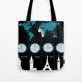 TIME ZONES. NEW YORK, LONDON, PARIS, TOKYO Tote Bag