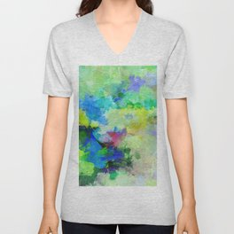 Original Green Abstract Painting on Canvas Unisex V-Neck