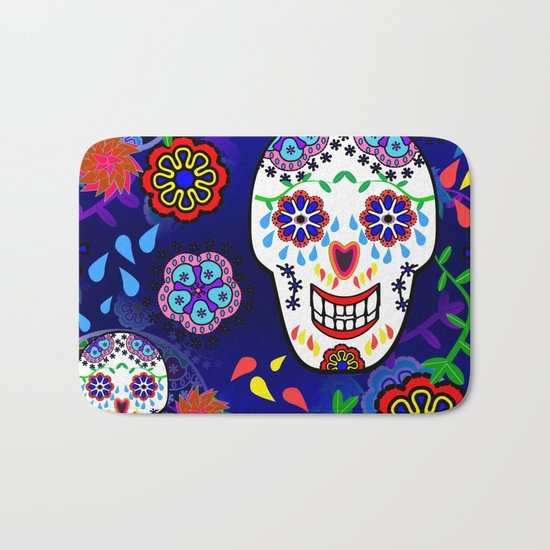Sugar Skulls in Blue Bath Mat