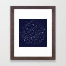 Constellation Map Indigo Framed Art Print