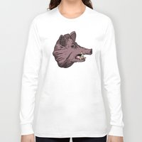 burgundy Long Sleeve T-shirts featuring Burgundy Boar by peter glanting
