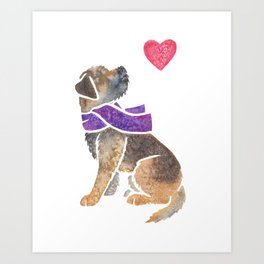 Watercolour Border Terrier Art Print