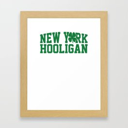 New York Hooligan St Patricks Day Green Shamrock Framed Art Print