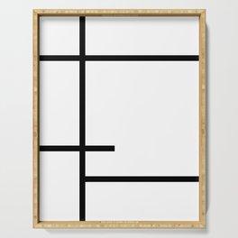 Minimalist Black Lines Art Serving Tray