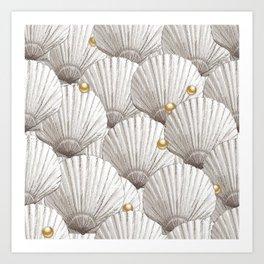 Seashells Pearl Treasure | Natural + Gold Tone Art Print