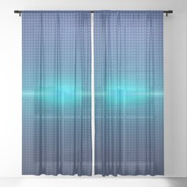Blue Abstract Light Burst Design Sheer Curtain