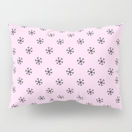 Black on Pink Lace Pink Snowflakes Pillow Sham