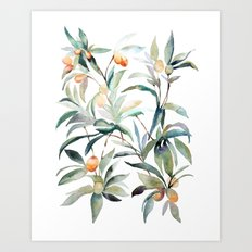 Watercolor Leaves Art Print