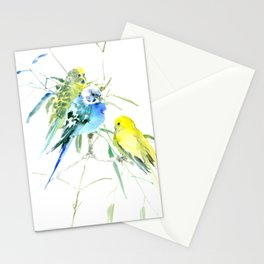 Parakeets green yellow blue bird decor Stationery Cards