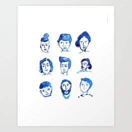 The People in Blue  Art Print