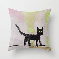 black cat Throw Pillows featuring Black Cat by Brontosaurus