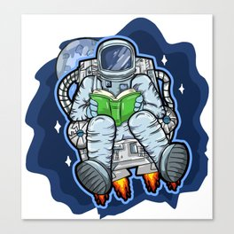 Astronaut Reads A Book In Space Canvas Print