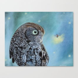Owl and Lightning Bugs Canvas Print