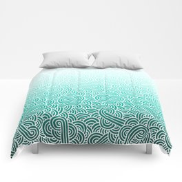 Faded teal blue and white swirls doodles Comforters