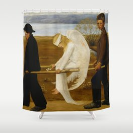 1903 Classical Masterpiece 'The Wounded Angel' by Hugo Simberg Shower Curtain