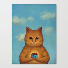 Every Cat need a Home. Ginger Cat Illustration Canvas Print