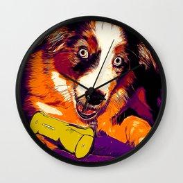 australian shepherd aussie dog puppy vector art late sunset Wall Clock