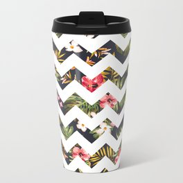 Floral Chevron Metal Travel Mug