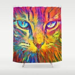 Neon Rainbow Cat Shower Curtain