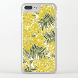 Yellow Mimosa Clear iPhone Case
