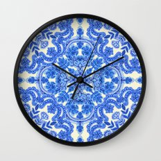 Cobalt Blue & China White Folk Art Pattern Wall Clock