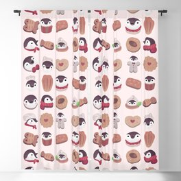 Cookie & cream & penguin - pink pattern Blackout Curtain