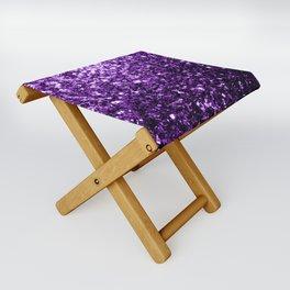 Beautiful Dark Purple glitter sparkles Folding Stool