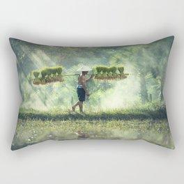 Indonesian Farmer Planting Rice Crop Rectangular Pillow