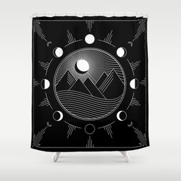 Moon Phases & Mountains Shower Curtain