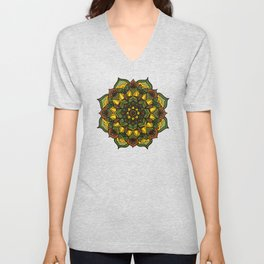 Sunflower Mandala Unisex V-Neck