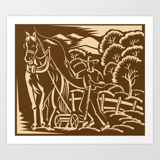 Farmer Farming Plowing With Farm Horse Retro Art Print