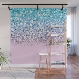 Sparkly Unicorn Blue Lilac & Pink Ombre Wall Mural