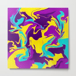 Yellow and Purple Psychedelic Metal Print