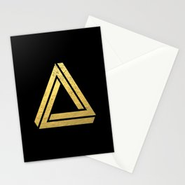Penrose Triangle - Black and Gold, gold, black, trendy, trend, math,  Stationery Cards