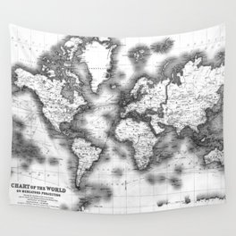 Black and White World Map (1911) Wall Tapestry