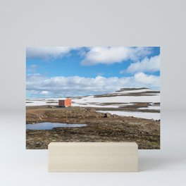 Red emergency shelter cabin in Iceland Mini Art Print
