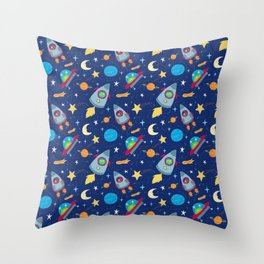Fun Space Rockets and Aliens Throw Pillow