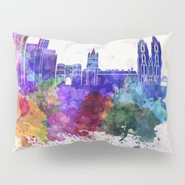 Cologne skyline in watercolor background Pillow Sham